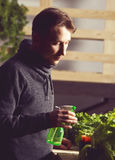Handsome grower is carefully irrigating plants indoor. Royalty Free Stock Photo