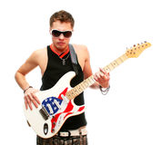 Handsome guitarist in sunglasses isolated on white Stock Photography