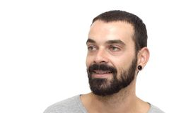 Handsome guy. With beard and gray shirt on white background Stock Photography