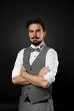 Handsome guy with beard and mustache in suit Royalty Free Stock Photos