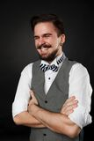 Handsome guy with beard and mustache in suit Stock Photo