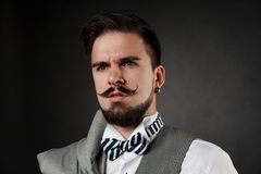 Handsome guy with beard and mustache in suit Royalty Free Stock Images