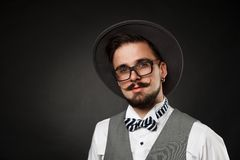 Handsome guy with beard and mustache in suit Stock Image