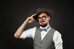 Handsome guy with beard and mustache in suit Royalty Free Stock Photo