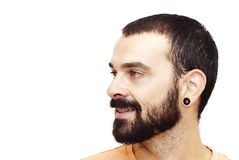 Handsome guy. With beard and orange shirt on white background Stock Photo