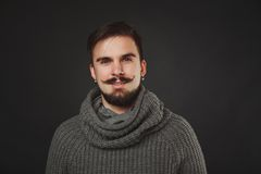 Handsome guy with beard in wool pullover Royalty Free Stock Images