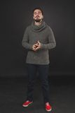 Handsome guy with beard in wool pullover Royalty Free Stock Image