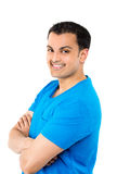 Handsome guy in blue shirt Royalty Free Stock Photos