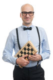 Handsome guy with chess board Stock Photos