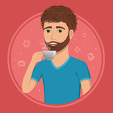 Handsome guy with a cup of coffee in his hand. Colored vector illustration of young man in flat style. Handsome guy with a cup of coffee in his hand. Colored Stock Photography