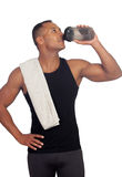 Handsome guy drinking protein after training Royalty Free Stock Images