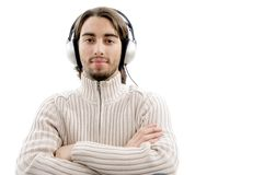 Handsome guy entertaining with music Royalty Free Stock Image