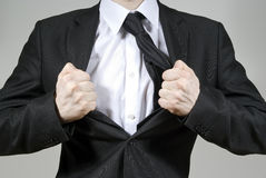 Handsome guy frustrated tears suit. Against Royalty Free Stock Images