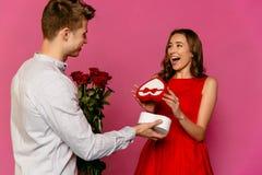 Happy couple celebrating St. Valentine`s day stock image