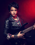 Handsome guy with guitar Stock Photography