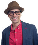 Handsome guy with hat and eyeglasses Royalty Free Stock Photo