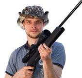 Handsome guy with hunting telescopic rifle Stock Photo