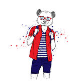 A handsome guy with a panda head dressed in a T-shirt, shirt and shorts. Summer clothes. Vector illustration. Hipster. Royalty Free Stock Photography