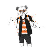 A handsome guy with a panda head dressed in a T-shirt, shirt and shorts. Summer clothes. Vector illustration. Hipster. Royalty Free Stock Photo