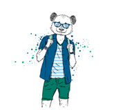 A handsome guy with a panda head dressed in a T-shirt, shirt and shorts. Summer clothes. Vector illustration. Hipster. Royalty Free Stock Image