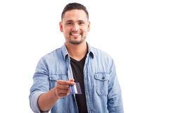 Handsome guy paying with credit card Royalty Free Stock Photo