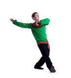 Handsome guy performing folk dance Royalty Free Stock Photo