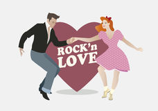 Handsome guy and pin up girl dancing rock. Rock'n Love. Young couple dancing rock'n roll and heart Royalty Free Stock Photo