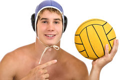 Handsome guy portrait. Aquatic player with a ball isolated on white Stock Photos