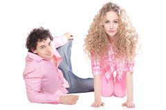 Handsome guy with girl on white background Royalty Free Stock Photo