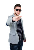 Handsome guy with sunglasses. And a finger in front. White Background Stock Image