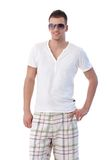 Handsome guy in sunglasses smiling Stock Photography