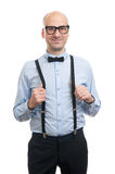 Handsome guy with suspenders and bow-tie Stock Photography