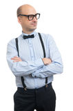 Handsome guy with suspenders and bow-tie Stock Images