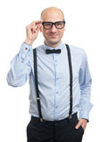 Handsome guy with suspenders and bow-tie Royalty Free Stock Photography