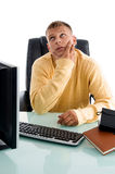 Handsome guy in thinking pose Royalty Free Stock Photos