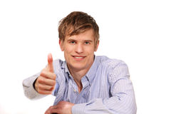 Handsome guy thumbs up Royalty Free Stock Photo