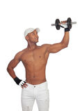 Handsome guy training with dumbbells Royalty Free Stock Image