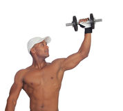 Handsome guy training with dumbbells Royalty Free Stock Images