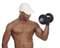 Handsome guy training with dumbbells Royalty Free Stock Photo