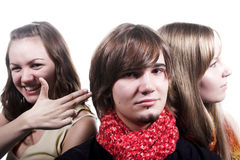 Handsome guy  and two beautiful girls Royalty Free Stock Image