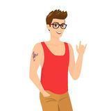 Handsome guy wearing glasses close-up vector Royalty Free Stock Photos
