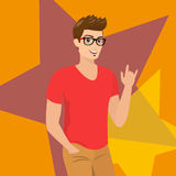Handsome guy wearing glasses close-up vector illustration Royalty Free Stock Photo