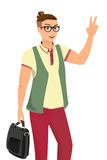 Handsome guy wearing glasses vector illustration Stock Images