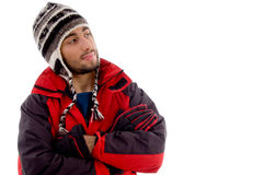 Handsome guy wearing woolen cap and winter jacket Royalty Free Stock Photo