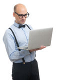 Handsome guy working on laptop Stock Photography