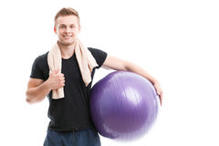Handsome guy during workout Royalty Free Stock Images