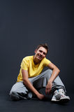Handsome guy in yellow t-shirt Royalty Free Stock Photo