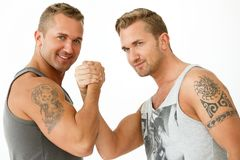 Handsome guys at home Stock Photography