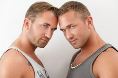 Handsome guys at home Stock Photo