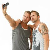 Handsome guys at home Royalty Free Stock Photography
